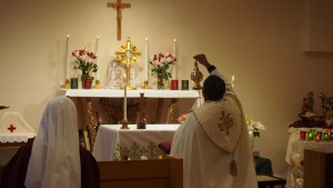 Father Pontian incenses the Blessed Sacrament