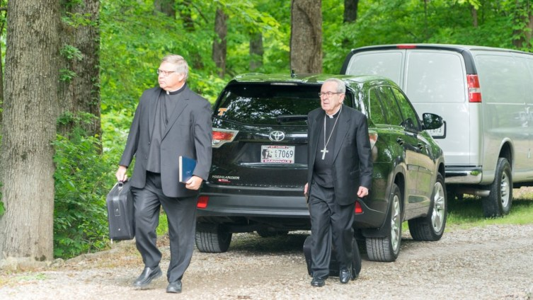 Bishop Stika and Cardinal Rigali arrive to celebrate the Funeral Mass.