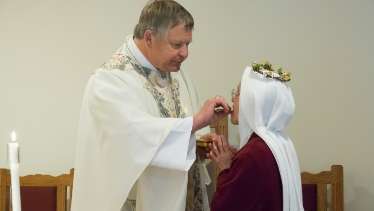Sister receives the Bread of Life: Jesus, Body, Blood, Soul and Divinity. He is the one responsible for fifty years of beautiful perseverance.