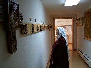 The earlier home of these Stations of the Cross was our Statio [Station] Hall where we would gather before processing into Chapel to sing the Divine Office. Sisters were able to pray the Stations of the Cross here inside the Motherhouse in New Mexico.