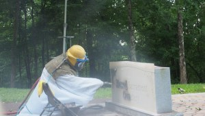 Sandblasting: Loud and dusty but silent and beautiful afterward.