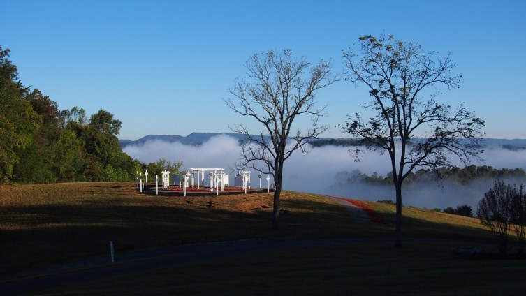 A morning view from the Mater Dei House at Cor Jesu Monastery overlooking the Mary Mother of Priests Garden and the Holston river valley.