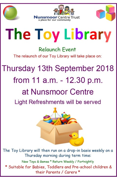 Toy Library relaunch poster 2018