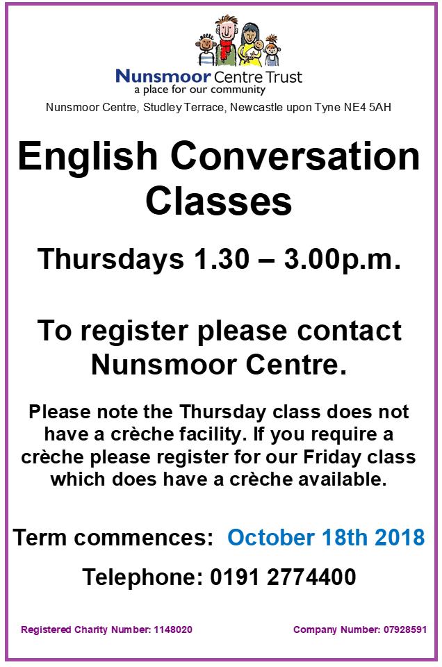 English Classes FRIDAYS Oct 2018
