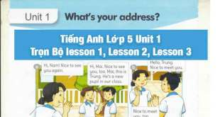 tiếng anh lớp 5 unit 1 lesson 3