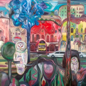 Bruno Marrapodi,''Due gufi'' topless bar, tecnica mista su tela, 120 x 120 cm