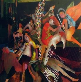 La festa dei germi e dei paranoici, olio su tela 150x150cm, 2014