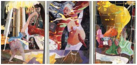 Matrimonio da manicomio, trittico, tecnica mista su carta 13x18 cm cadauno, 2014,