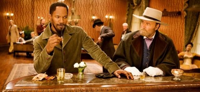 Jamie Foxx con Franco Nero, il Django del film di Sergio Corbucci, qui in un ruolo-cameo.