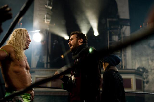 Mickey Rourke e il regista Darren Aronofsky sul set