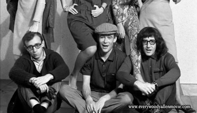 Peter O'Toole con Woody Allen e Peter Sellers durante il tournage di Ciao Pusycat (1965)