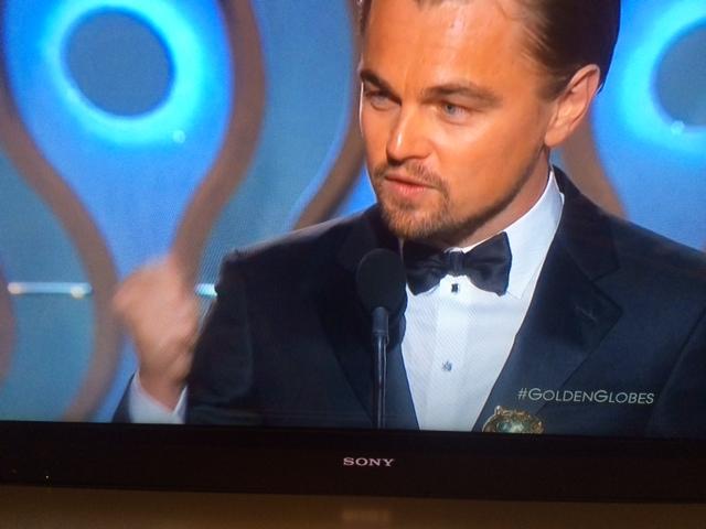 Leonardo DiCaprio riangrazia per il Golden Globe come miglior attore cat. comedy per The Wolf of Wall Street.