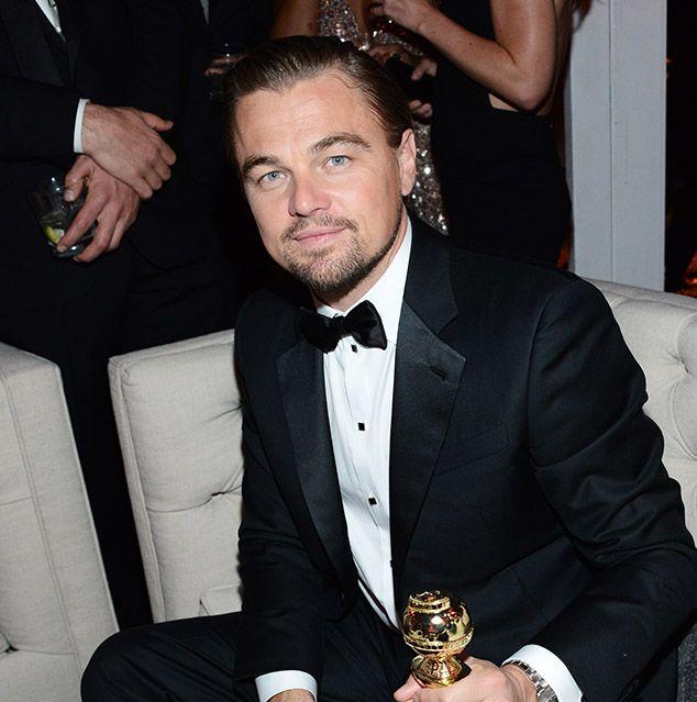 Leo DiCaprio al party post-cerimonia di Weinstein con il suo Golden Globe fresco fresco