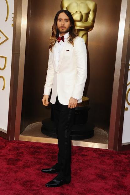 Jared Leto, candidato come miglior attore non protagonista per Dallas Buyers Club, sul rd carpet.