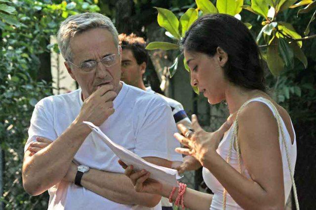 Marco Bellocchio con Donatella Finocchiaro durante la lavorazione di 'Sorelle mai'
