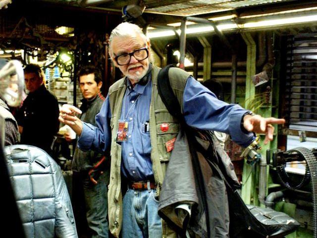 George Romero sul set di 'La terra dei morti viventi'