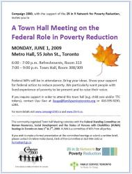 hall town meeting campaign 2000 poverty reduction federal role toronto employees june poster