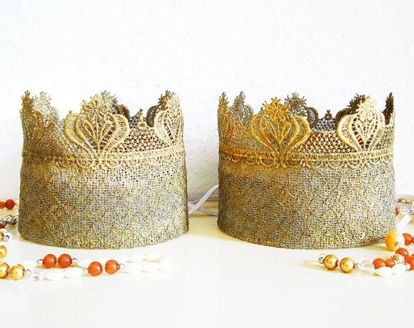 Krone aus Spitze basteln