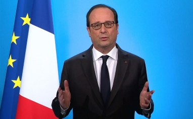 French President Francois Hollande, seen in this picture taken from French TV, makes a televised address from the Elysee Palace in Paris, France, December 1, 2016. HANDOUT/France Television via REUTERS