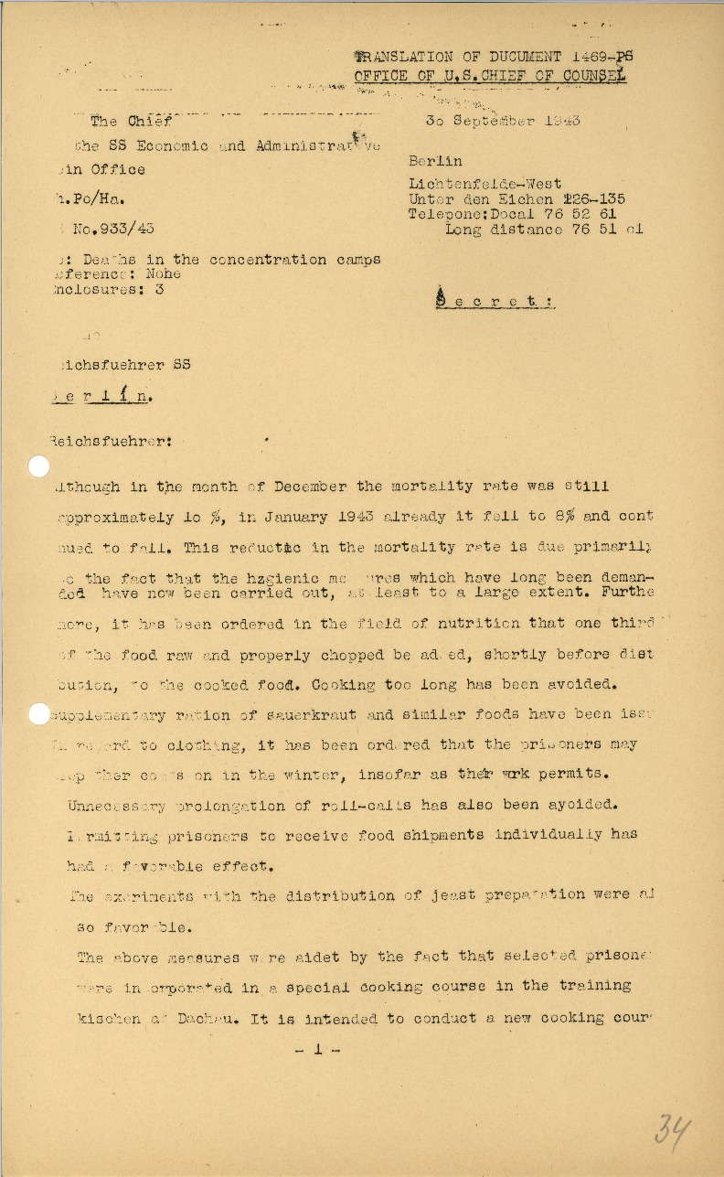 Nuremberg - Document Viewer - Report to Himmler concerning reduced death  rates and improved conditions in the concentration camps, and Himmler's  reply