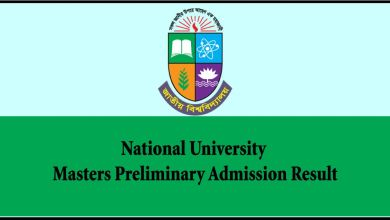 Masters Preliminary Admission Result