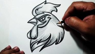 kumpulan sketsa ayam jago