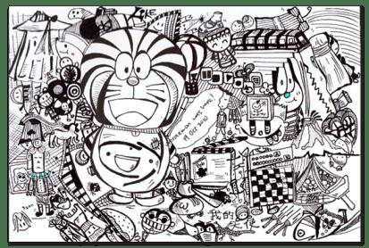 Sketsa Doraemon dan Temannya