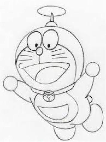 Sketsa Doraemon Terbang