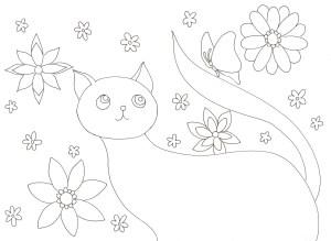 猫と花と蝶々の塗り絵