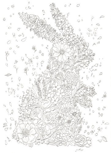 ウサギのシルエットの花の塗り絵
