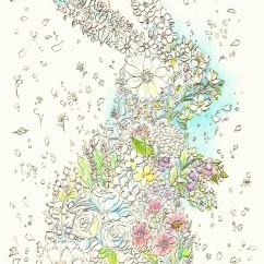 ウサギの形の花のブーケの塗り絵