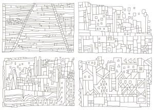 四角の組み合わせの塗り絵