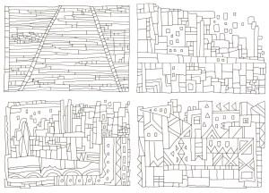 四角の模様を組み合わせた塗り絵