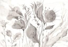 墨で描いた花の図