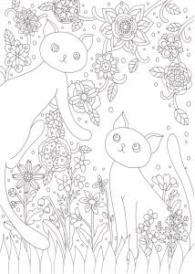 お花畑で遊ぶ猫の塗り絵