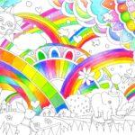 虹色で塗った塗り絵