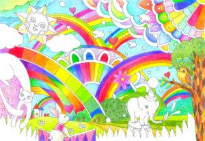 周囲の動物に色を塗る