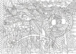 椿のある模様の塗り絵