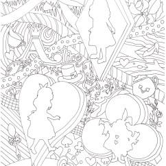 不思議の国のアリスをテーマにした人気の塗り絵