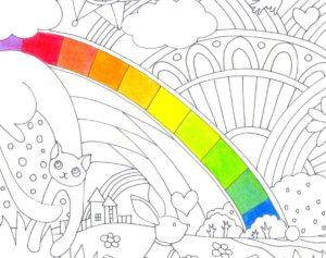 虹色を塗った塗り絵