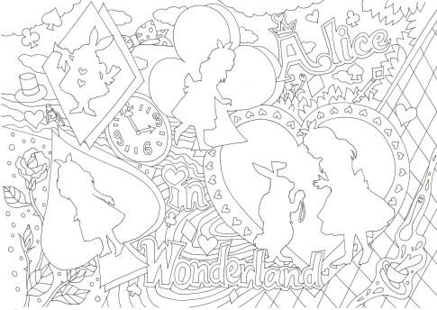 アリスのシルエットの横長の塗り絵