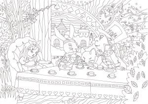 アリスのお茶会の塗り絵