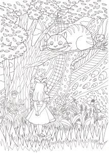 チェシャ猫の塗り絵