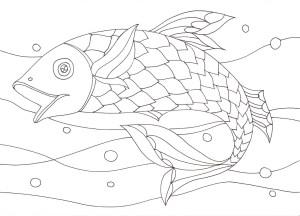 波と魚の塗り絵