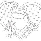 カエルと水玉ハートの塗り絵