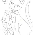 リボン猫の塗り絵