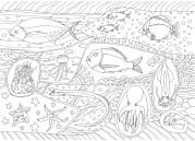 魚と模様の塗り絵