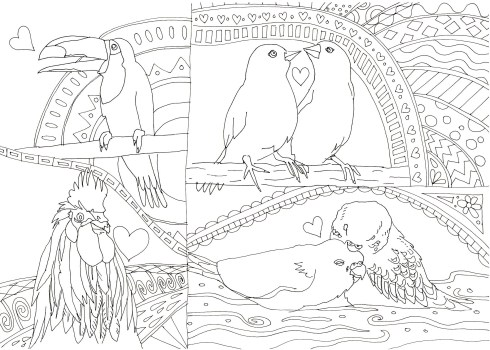 鳥がたくさんいる塗り絵