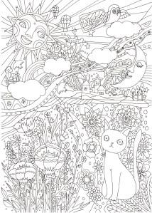 猫と花と太陽の塗り絵