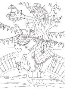 ゾウと鳥と木の塗り絵